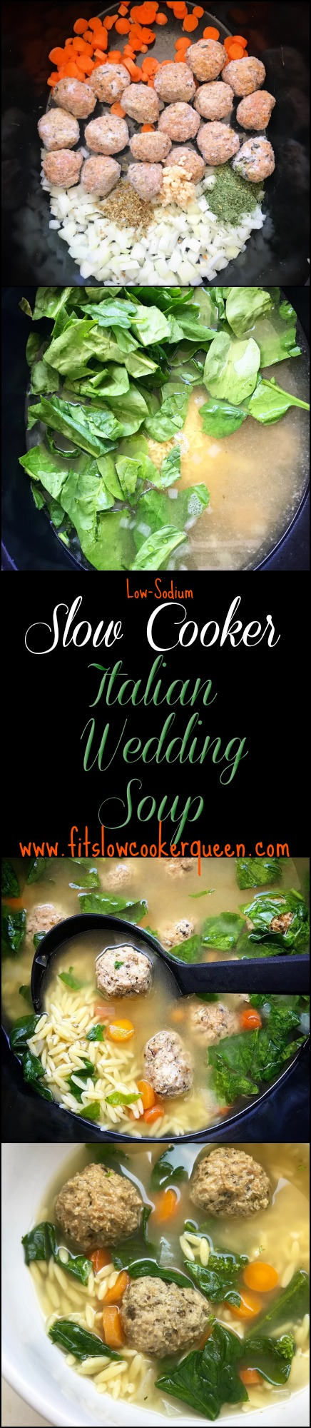 Italian wedding soup is a simple and healthy soup that can be served anytime, not just weddings. This low-sodium version cooks in the slow cooker to produce a flavorful soup that can be served as a starter or main course.