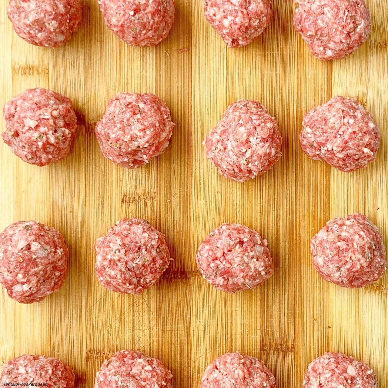 tray of meatballs for Italian wedding soup