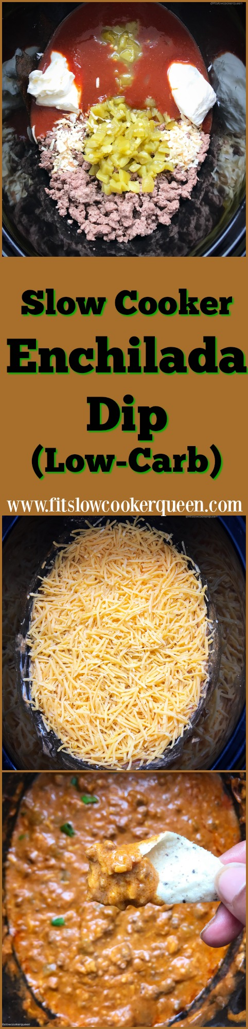 Enchilada dip is an easy and flavorful appetizer that comes together very quickly. This super easy low-carb version of enchilada dip cooks in the slow cooker making it perfect for your next party or company potluck.