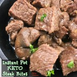 These keto steak bites are not only packed with flavor & low carb/high fat, they cook in less than 10 minutes in the Instant Pot. A quick, keto recipe!