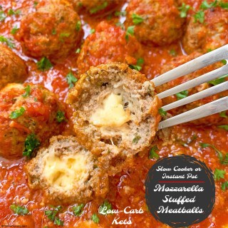 cover pic for slow cooker or instant pot mozzarella stuffed meatballs