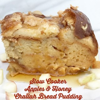 Slow Cooker Apples & Honey Challah Bread Pudding