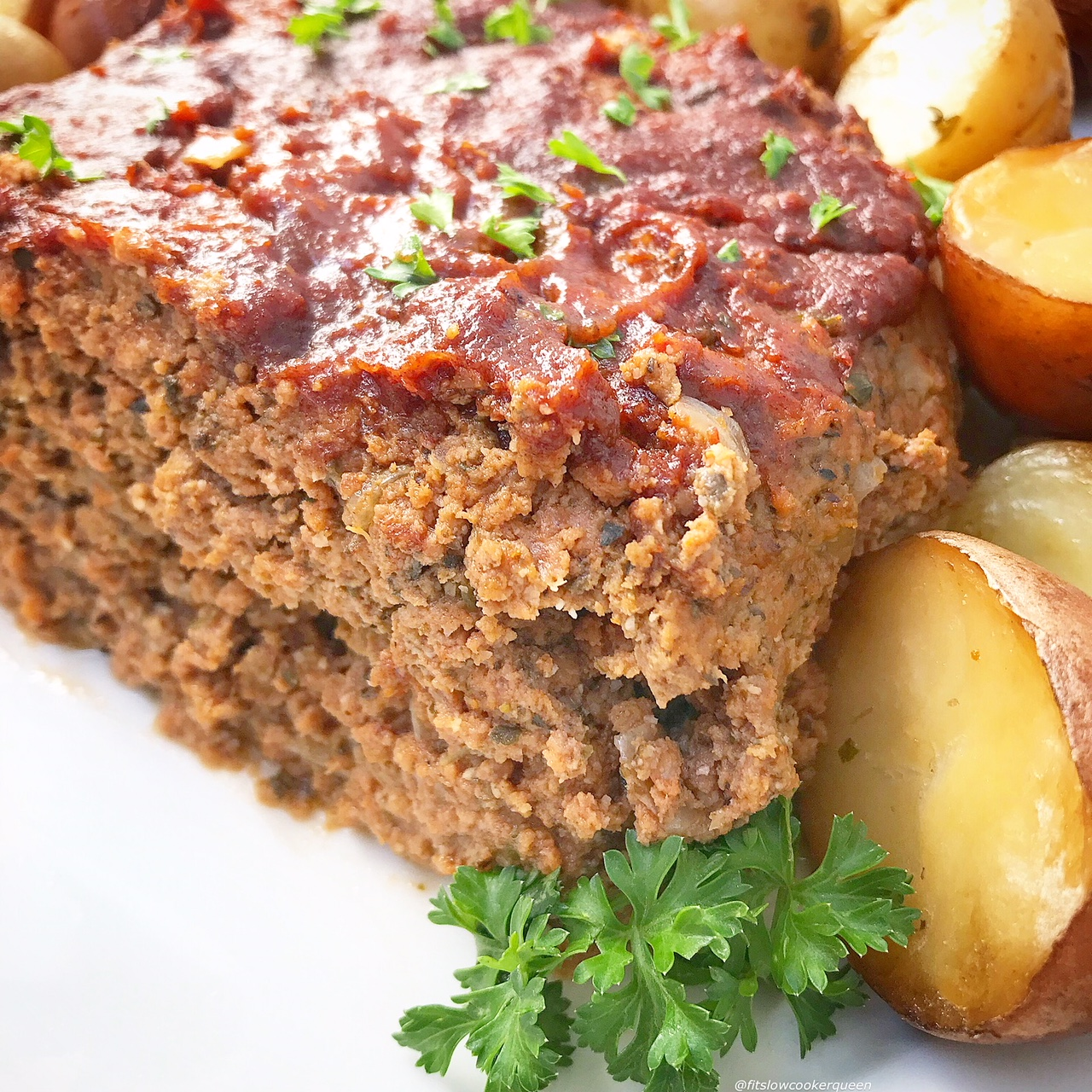 This whole30 meatloaf (paleo option too) and potatoes recipe is made in the slow cooker for an easy meal the entire family will enjoy.