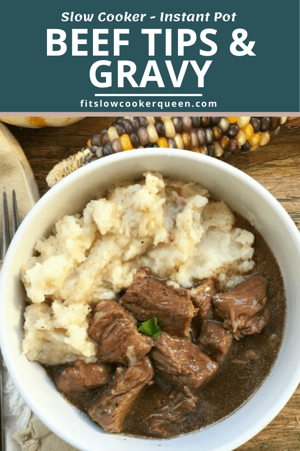 Slow Cooker/Instant Pot Beef Tips & Gravy (Low-Carb, Paleo, Whole30)