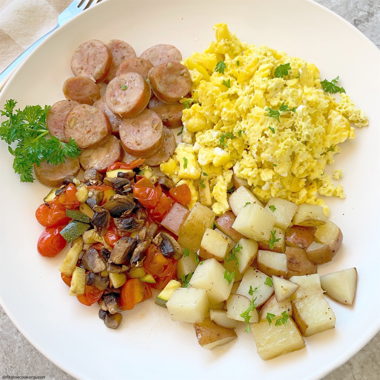 plated pic of Slow Cooker Healthy Fry Up Breakfast (Paleo,Whole30) pin1