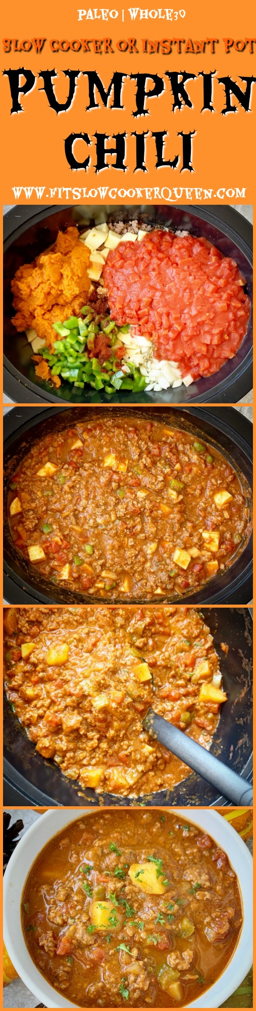 another Pinterest pin for Slow Cooker Instant Pot Pumpkin Chili (Paleo, Whole30)pin2