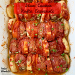 Middle Eastern kofta meatball patties, potatoes (sweet) and tomatoes cook together in this simple yet hearty paleo & whole30 slow cooker recipe.