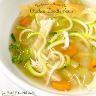 Zoodles lighten up this low-carb, paleo, and whole30 chicken soup recipe that can be made in your slow cooker or Instant Pot.