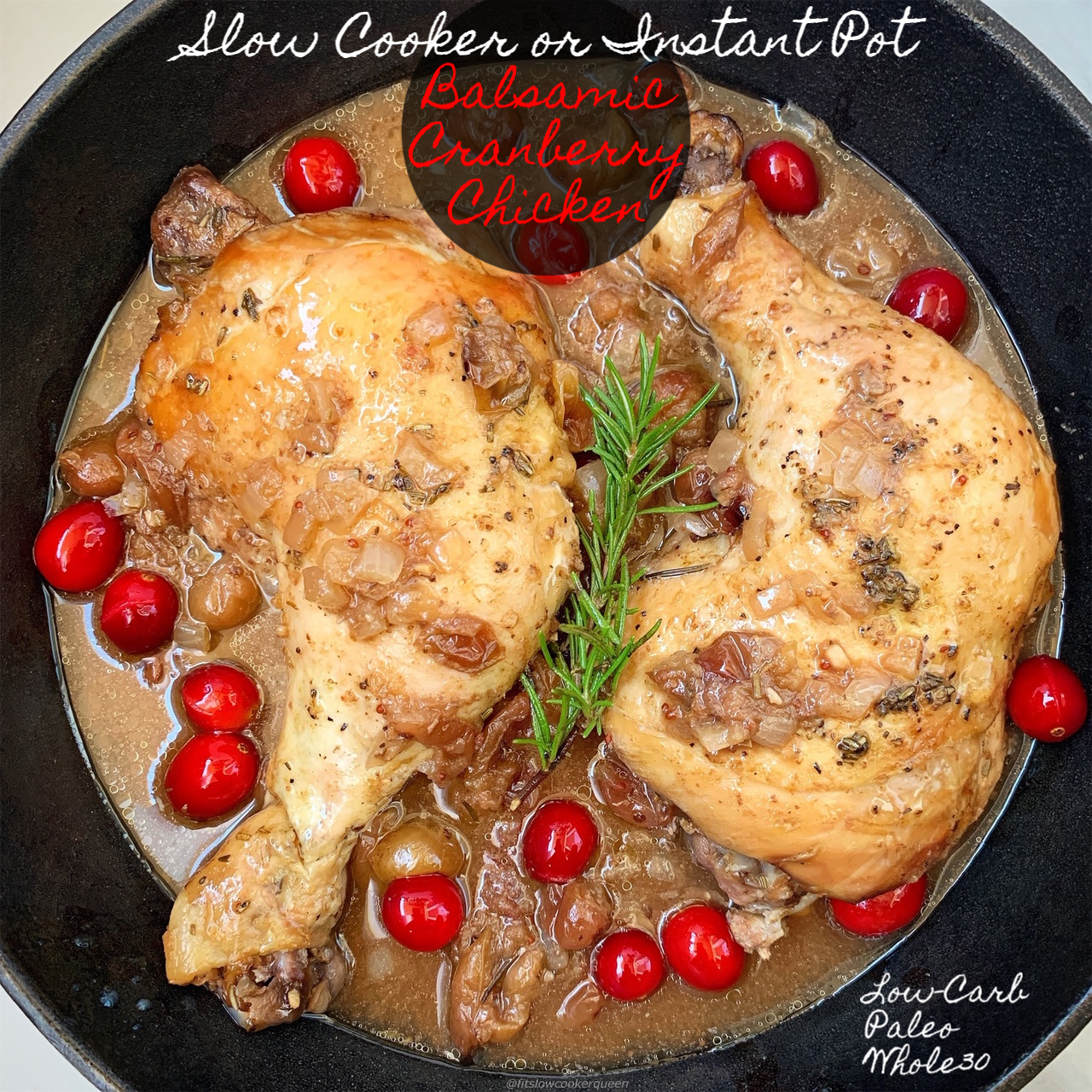 A homemade balsamic cranberry sauce cooks on top of your favorite cut of chicken in this easy and healthy recipe that can be made in your slow cooker or Instant Pot.