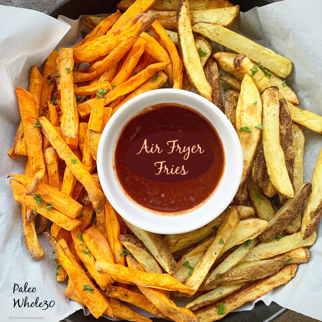 Homemade french fries using red potatoes