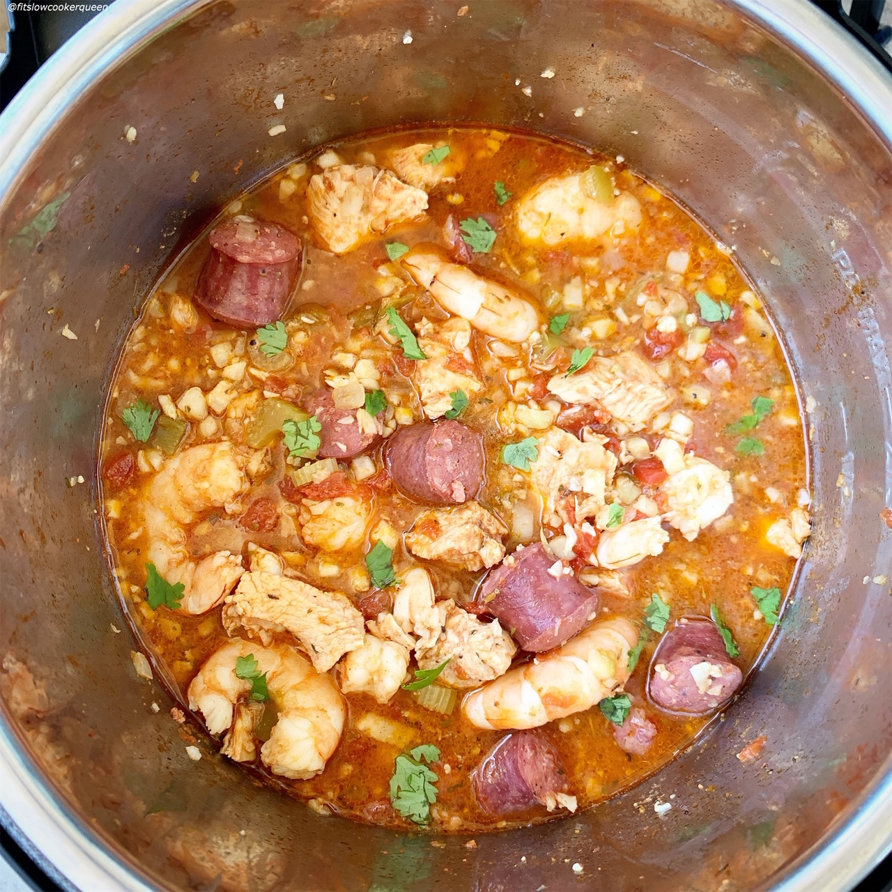 cooked jambalaya in the pressure cooker for Slow Cooker_Instant Pot Jambalaya (Low-Carb, Paleo, Whole30) pin1