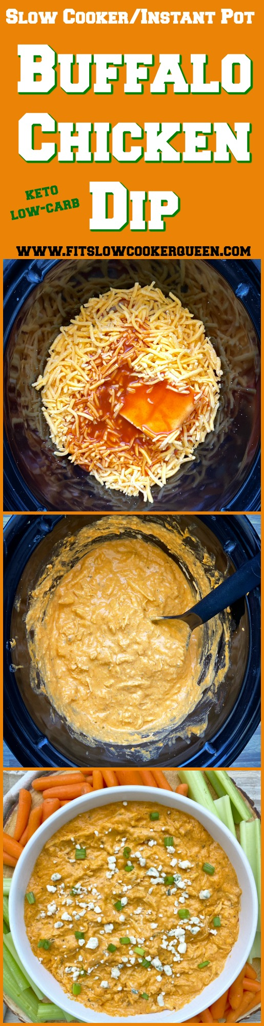another pinterest pin for Slow Cooker_Instant Pot Low-Carb Buffalo Chicken Dip (Keto)