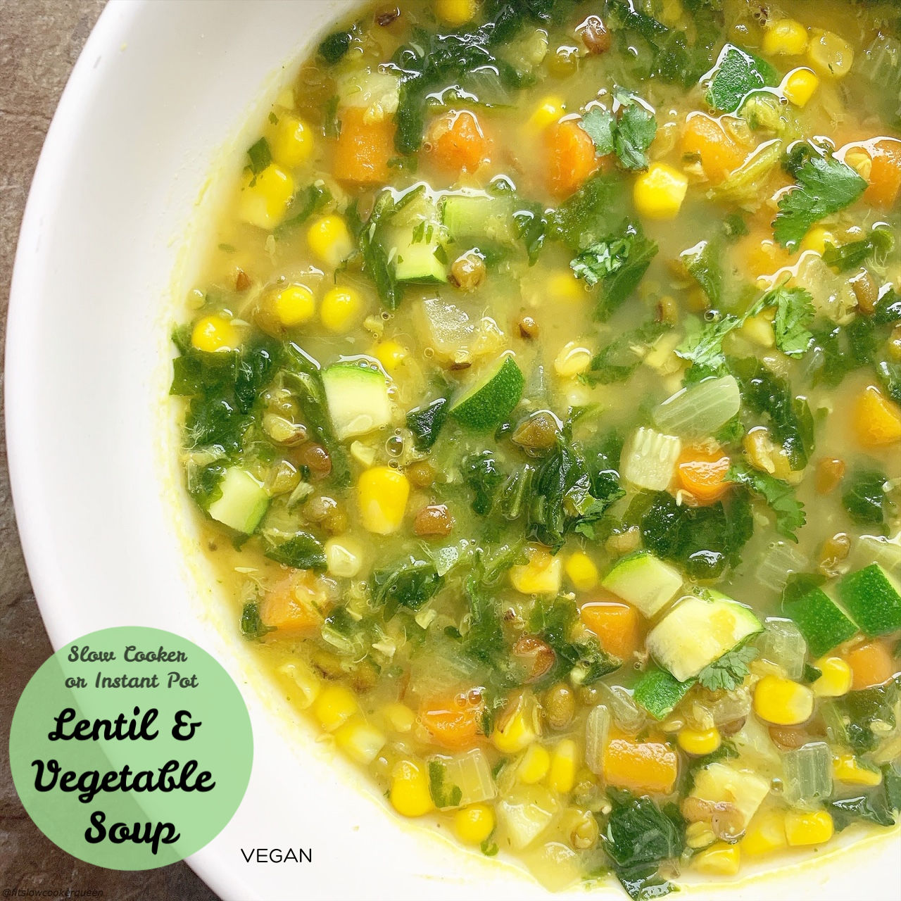 Lentils and vegetables star in this simple vegan soup recipe that's packed with flavor. Make this healthy soup in your slow cooker or Instant Pot.