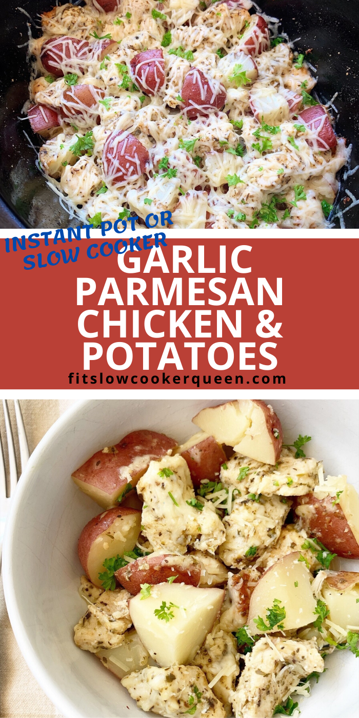 {VIDEO} Slow Cooker/Instant Pot Garlic Parmesan Chicken & Potatoes