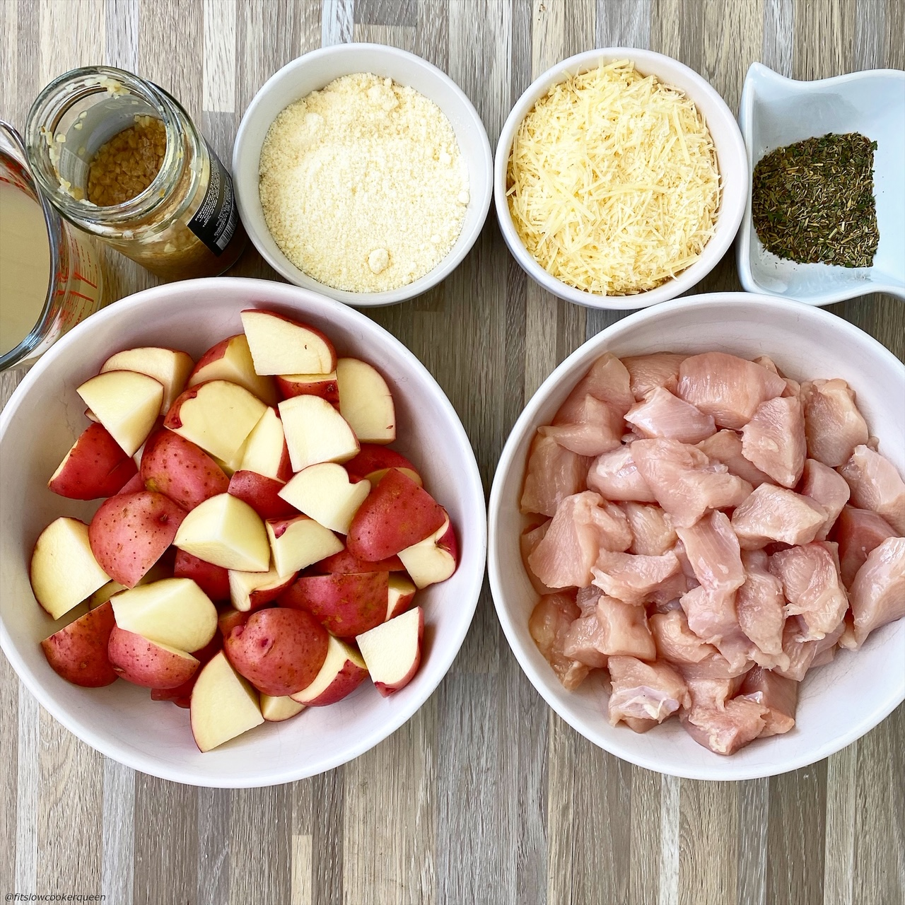 ingredients for {VIDEO} Slow CookerInstant Pot Garlic Parmesan Chicken & Potatoes laid out on a table