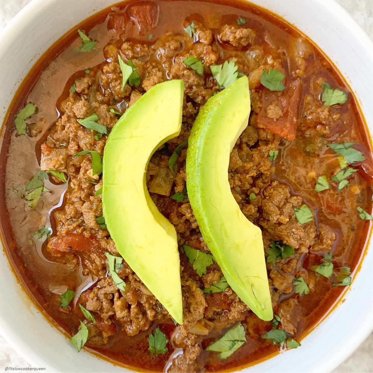 No beans necessary! Omit the beans and you have a delicious low-carb, keto chili. Make this paleo/whole30 chili recipe in your slow cooker or Instant Pot.