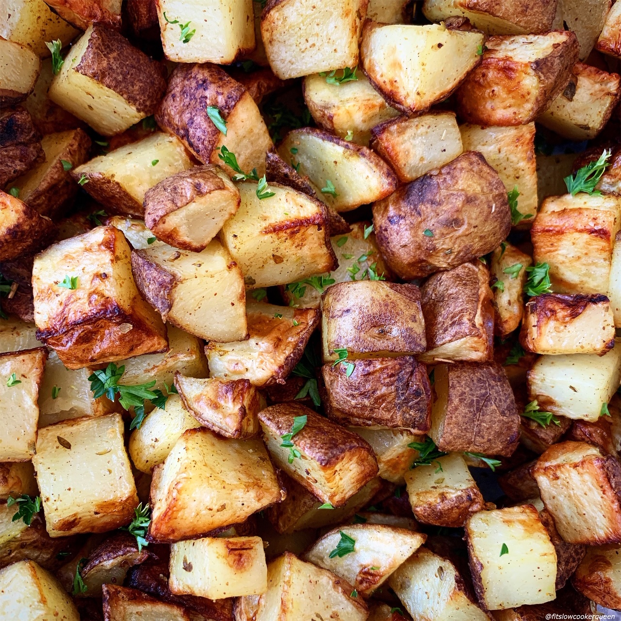 close up of cooked whole30 air fryer breakfast potatoes