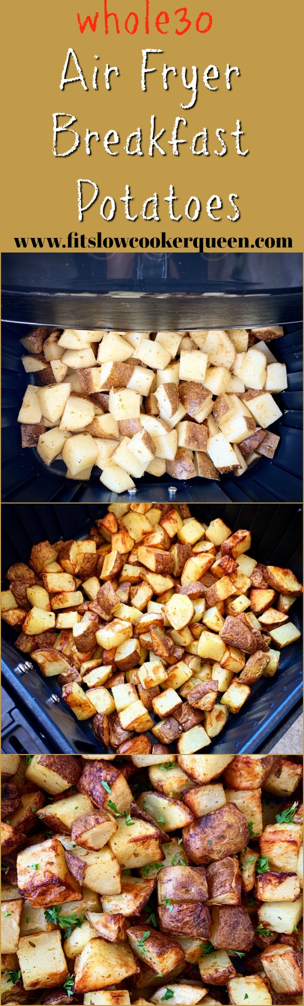 another pinterest pin for Air Fryer Breakfast Potatoes (Whole30)