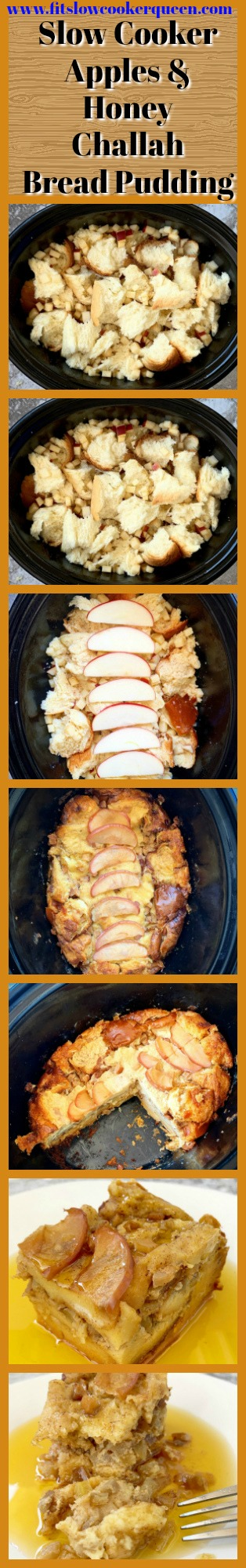 another pinterest pin for {VIDEO} Slow Cooker Apples & Honey Challah Bread Pudding