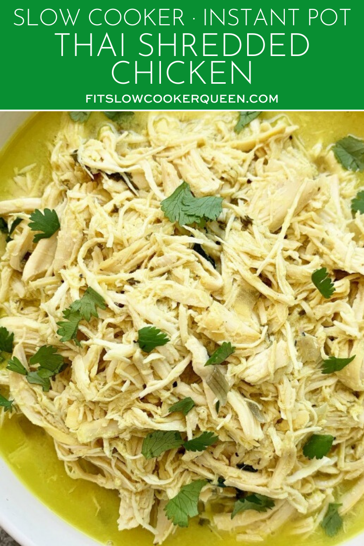 {VIDEO} Slow Cooker/Instant Pot Thai Shredded Chicken (Low-Carb, Paleo, Whole30)