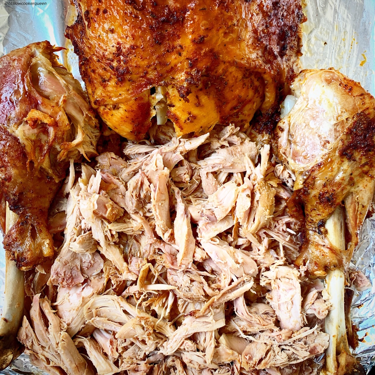 close up pic of cooked turkey with crisp skin