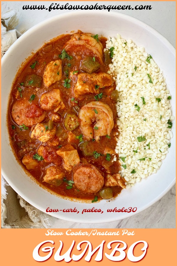 pinterest pin for Slow Cooker_Instant Pot Gumbo (Low-Carb, Paleo, Whole30)