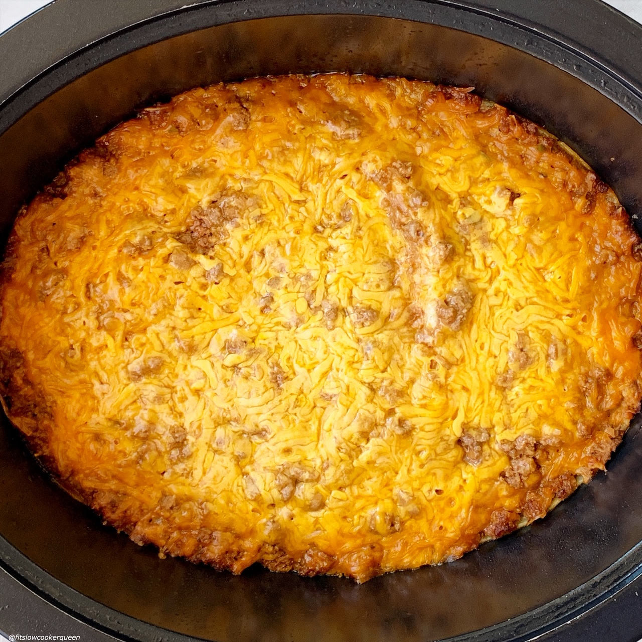 close up pic of {VIDEO} Slow Cooker Cheeseburger Casserole (Low-Carb) in the slow cooker
