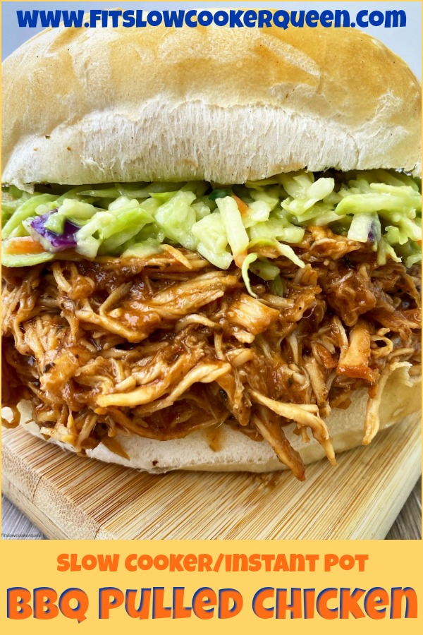 pinterest pin for {VIDEO} Slow Cooker_Instant Pot BBQ Pulled Chicken (Low-Carb, Paleo, Whole30)