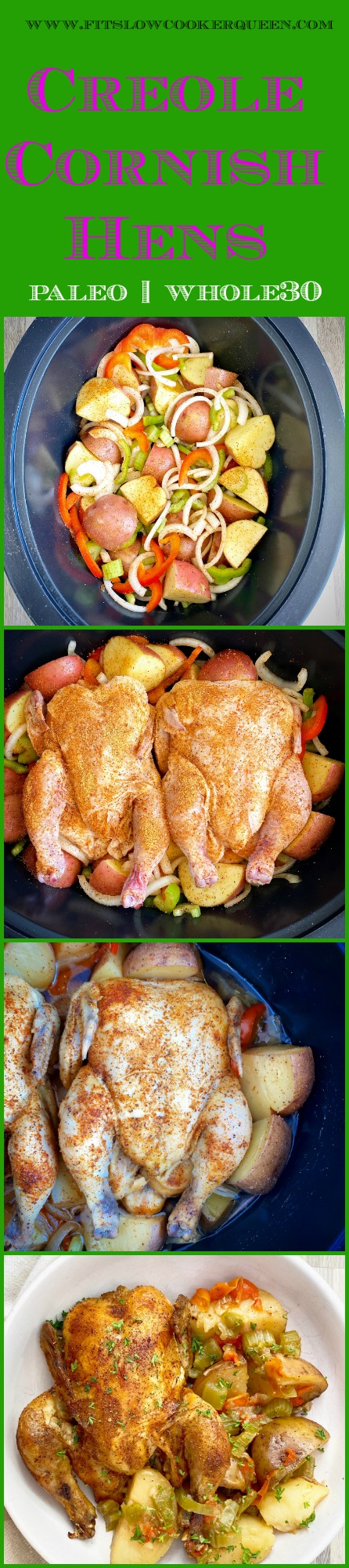 pinterest pin for Slow Cooker_Instant Pot Creole Cornish Hens (Paleo, Whole30)