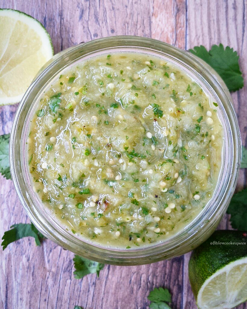 close up of salsa verde in a bowl