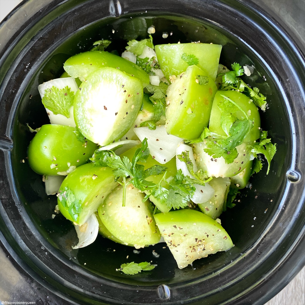 before pic of raw food for Slow Cooker Instant Pot Salsa Verde (Low-Carb, Paleo, Whole30) in the slow cooker