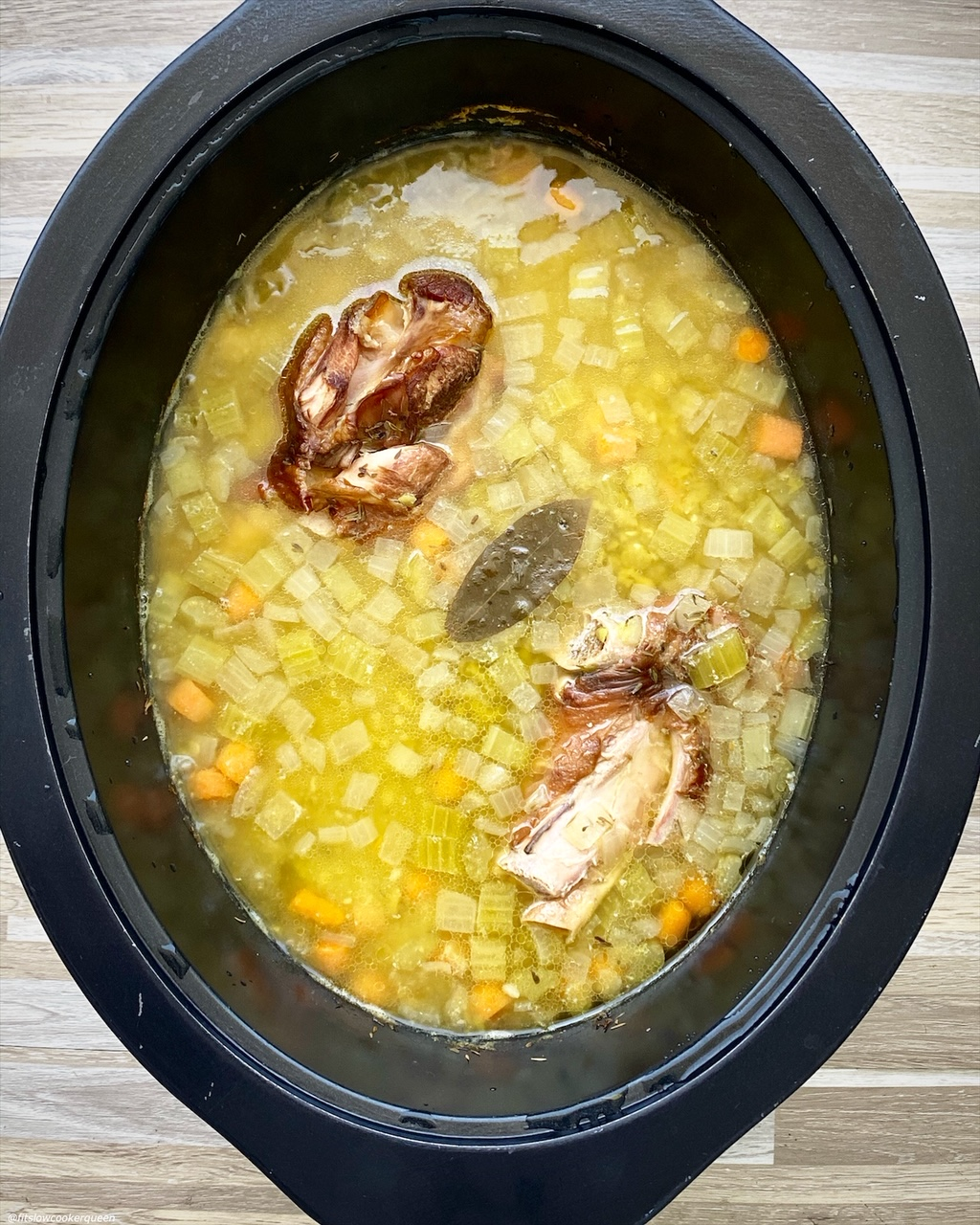 after pic of {VIDEO} Slow CookerInstant Pot Split Pea Soup (Whole30) in the slow cooker