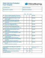 Interview Evaluation Form - retail