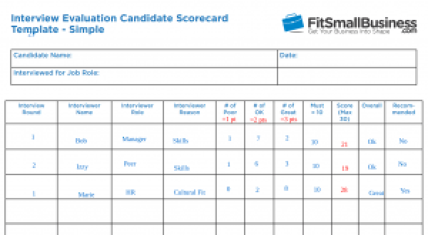 Interview Evaluation Form Scorecard Example of Scoring the form template
