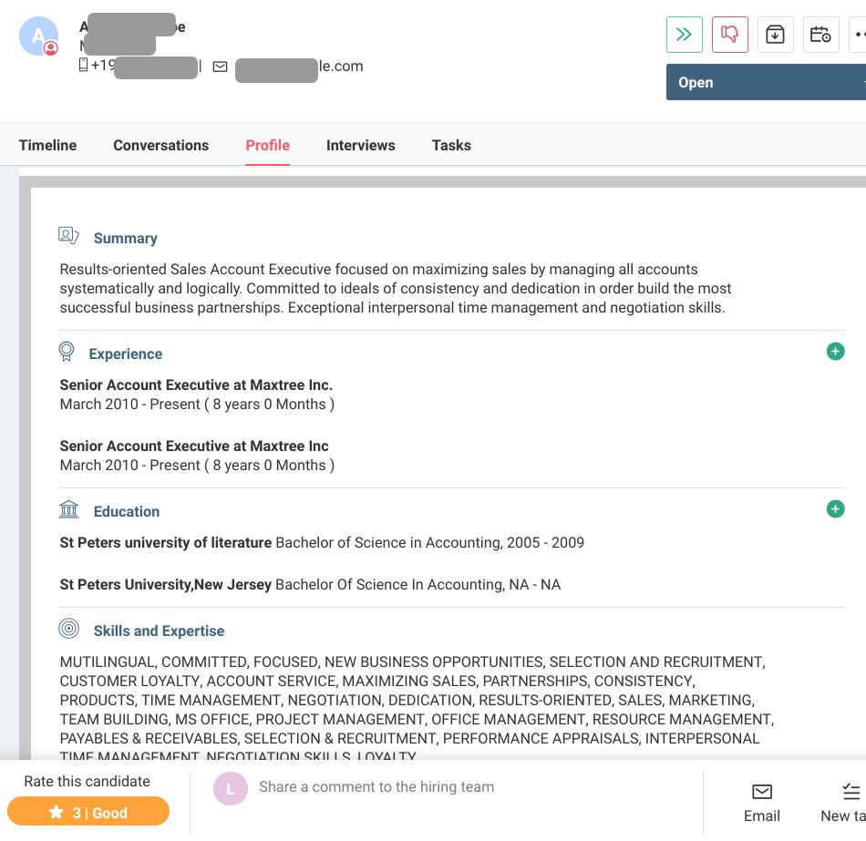 sample resume screening checklist