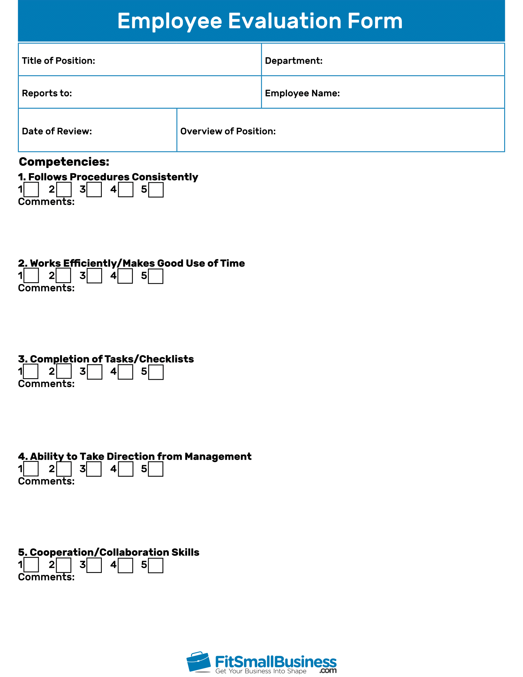 Employee Evaluation Forms Free Performance Review