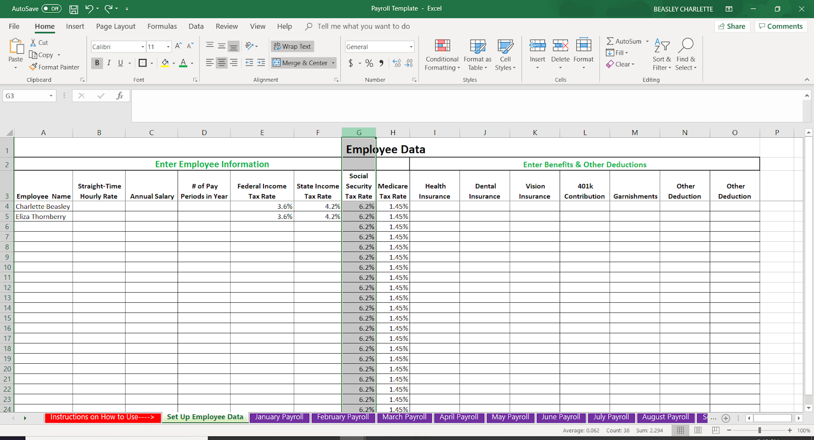 payroll template for excel