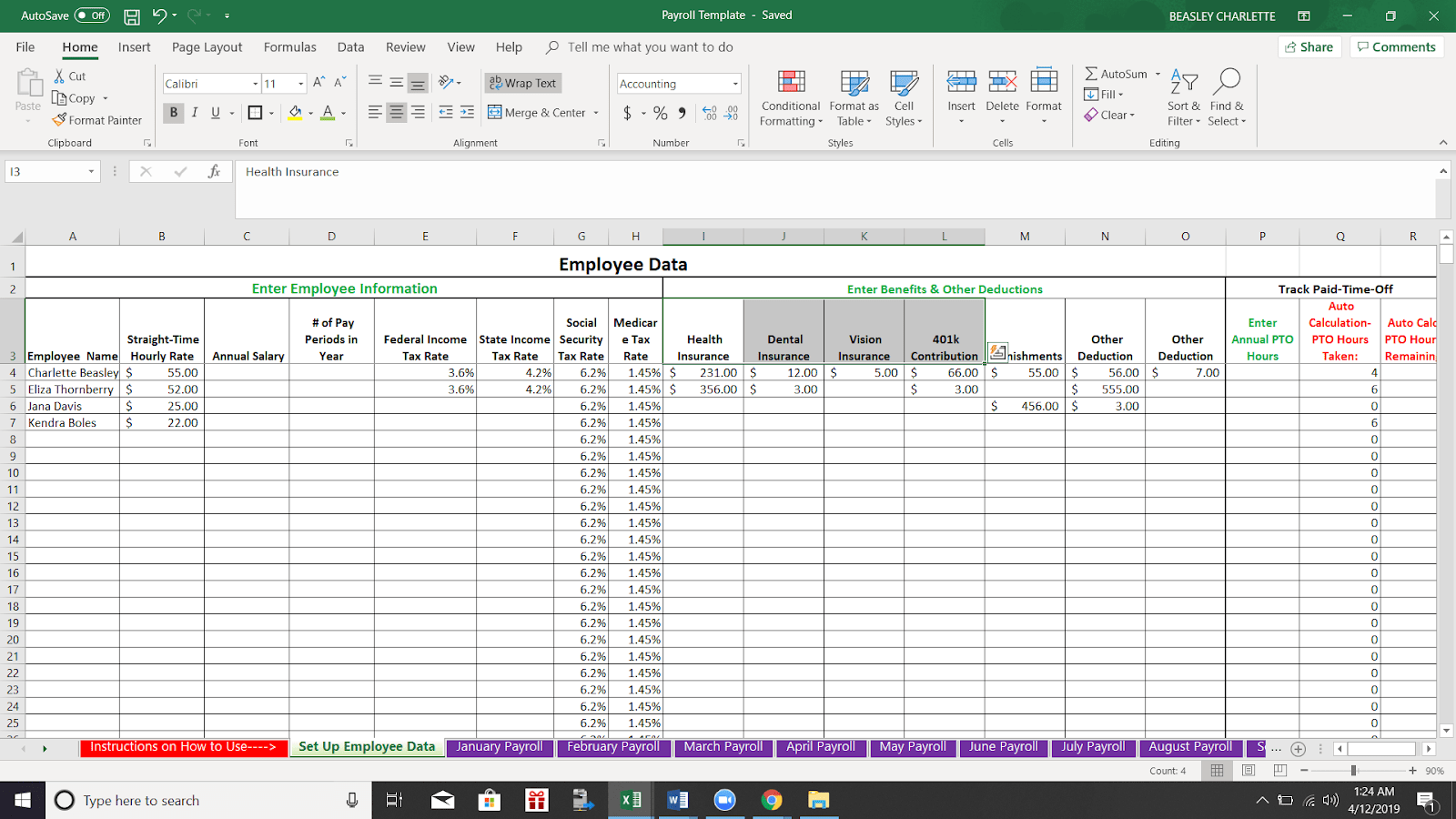 How To Do Payroll In Excel Free Template