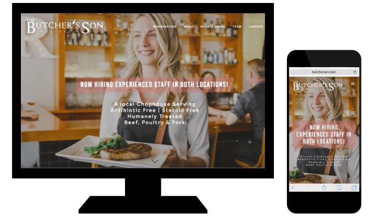 Esempio di responsive web design di Butcher's Son