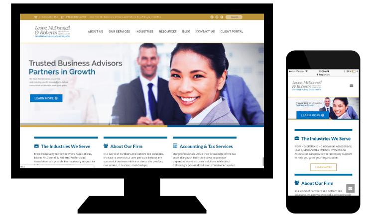 Esempio di responsive web design di Leone, McDonnell & Roberts