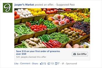 un esempio di annuncio di offerta di Facebook