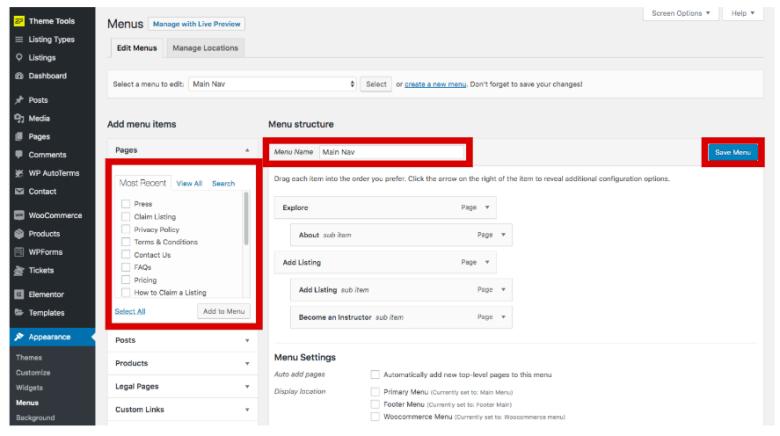Configura il menu WordPress