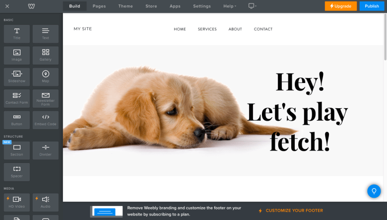 Weebly Site Builder Interface