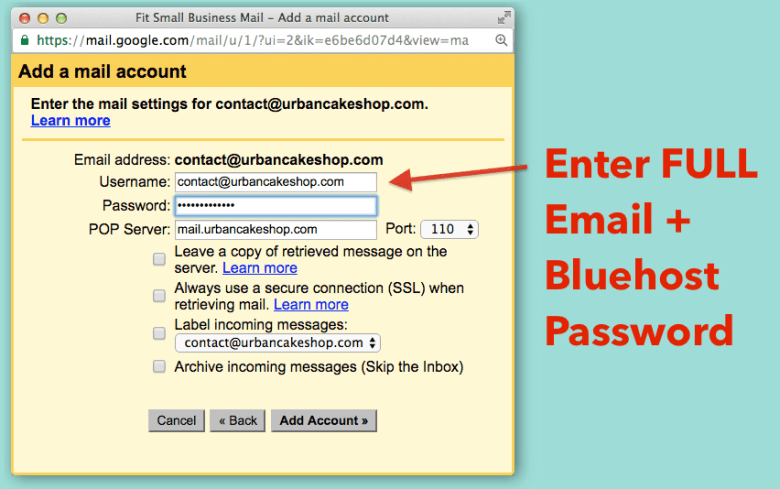 Collega l'email Bluehost a Gmail