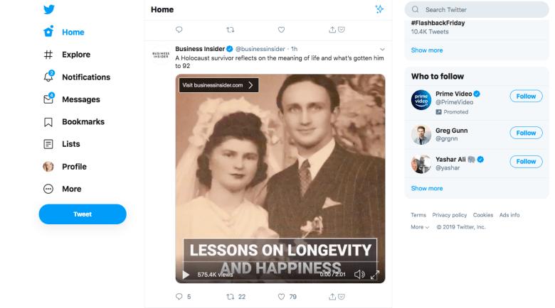 Esempio di annuncio di Twitter