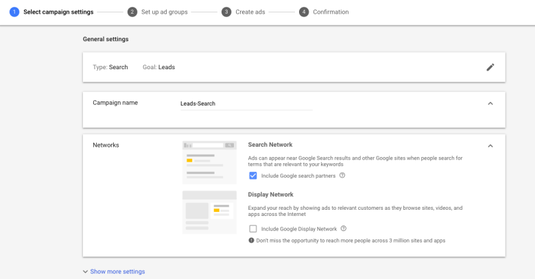 Inserisci il nome della campagna e seleziona Rete per la nuova campagna pubblicitaria di Google