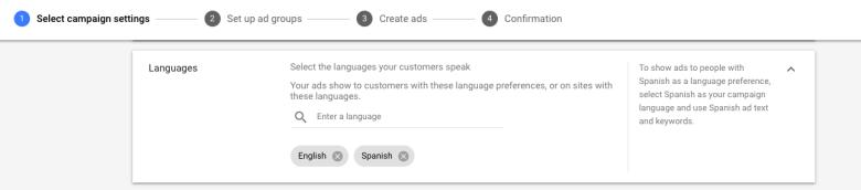 Seleziona le lingue per Google Ads