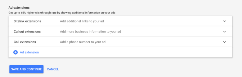 Aggiungi estensioni annuncio alla campagna pubblicitaria di Google