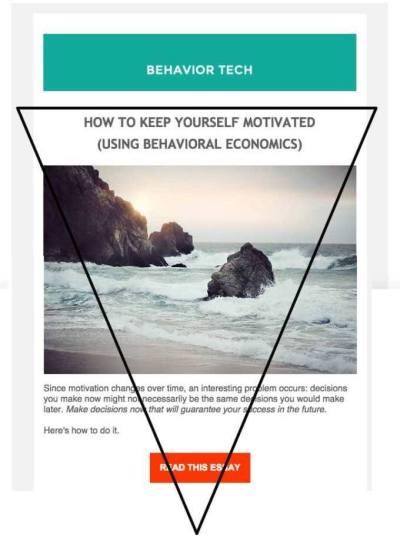 Esempio di progettazione e-mail a triangolo invertito con sovrapposizione a triangolo - Tecnologia di comportamento