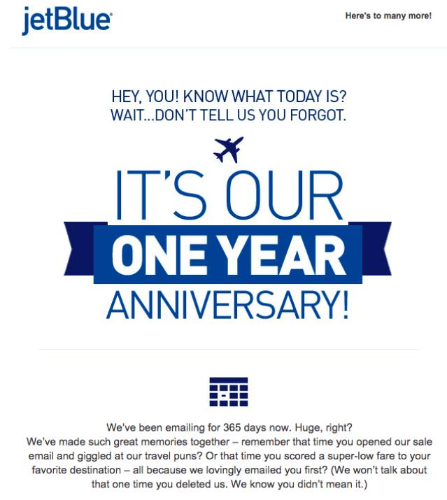 Esempio di e-mail jetBlue